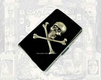 Metal Cigarette Case Silver Skull and Cross Bones Inlaid in Hand Painted Glossy Black Enamel Steampunk Metal Wallet Neo Victorian