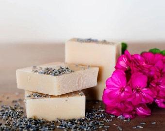 Goat milk soap, ROSE GERANIUM LAVENDER, goat's milk soap, soap bar, natural soap, handmade soap, hand soap, queenofthemeadow, 3.5 oz