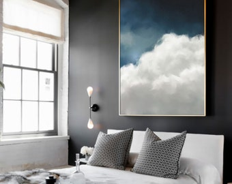 Cloud Painting, Extra Large Wall Art, Abstract Art, Large Abstract Painting, Blue and White Cloudscape Art by CORINNE MELANIE ART
