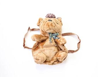 1990s BULLDOG Pug Backpack PUPPY Dog Plush Purse 90s Stuffed Animal Mini Book Bag NWT Deadstock Club Kid Cute Kawaii Bag Festival Rave