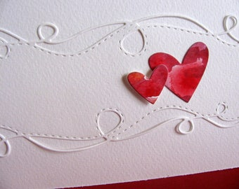 Watercoloured Heart Duo with Swirly Ivory Border on Creamy Ivory Card / Wedding / Mother of the Bride / Anniversary / A2 size