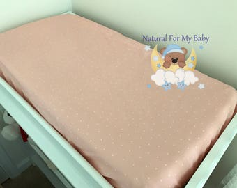 Cotton Coral Fitted Crib Sheet Coral Dots Nursery Changing Pad Cover Cradle, Mini Crib Twin Full Queen Sheet