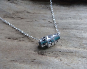 Custom Message Pendant Aluminum Hand Stamped Wrap Silverplate Chain Necklace