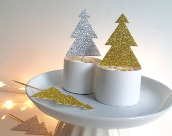 Christmas Tree Cupcake toppers Glitter Gold and Silver