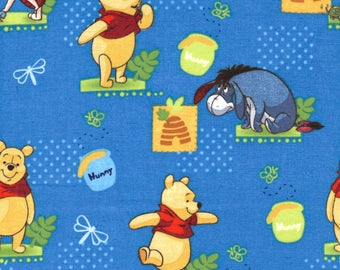 Winnie the Pooh, Eeyore, Piglet Pot of Honey Characters Blue Disney 100% Cotton Fabric - FQ