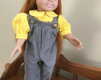 Doll Blouse and Overalls Outfit