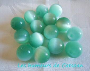 5 glass 12mm mint Blue Cat's eye / cateyes