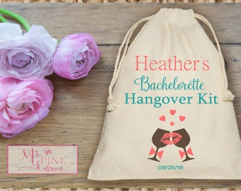 Wine toasting Hangover Kit  Bachelorette Party  Muslin favor Bag - Mini Favor bag - Bridal shower bag