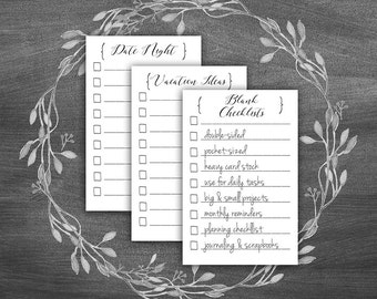 Daily Checklist |  Blank To Do List | Project Checklist | Daily Planner Refill Cards | Things To Do | Lined Cards | Journaling Cards