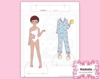 Kamala, Dress-Up Paper Doll-Printable PDF Download