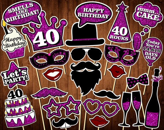 40th Birthday Photo Booth Props Printable PDF INSTANT