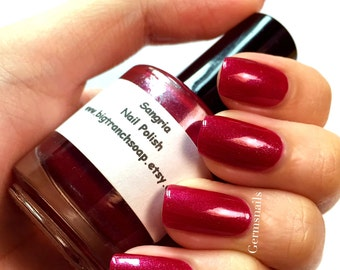 "Red Nail Polish - Holographic - Hand Blended - Free U.S. Shipping - ""SANGRIA"" - Red Nail Polish - 0.5 oz Full Sized Bottle"