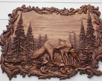 Wolf Wood Carving, Wood Wall Art Decor Wall Hanging, Wolf Sculpture, Carved Wolf on Wood