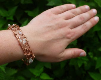 Copper and Quartz beaded bracelet, copper cuff, healing jewellery, OOAK, copper bangle, arthritis bracelet