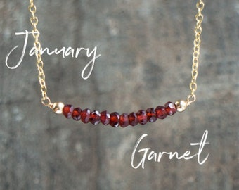 Garnet Necklace, January Birthstone Necklace, Red Garnet Jewelry, Gemstone Bar Necklace, Birthday Gift for Her, Dainty Jewelry, Delicate