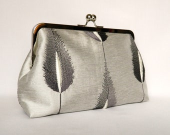 Silver Clutch, Clutch Purse, Silver Silk Embroidered Feather Clutch, Grey Wedding Clutch, Bridal Clutch, Evening Clutch