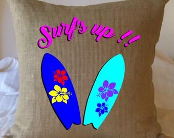 Pillow Cover, Beach Decor, Beach Pillow Cover, Beach Pillow, Beach House, Decorative Pillow, Beach Pillow Covers, Beach Surfer, Faux Burlap