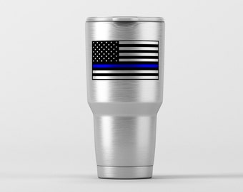 American Flag Police Blue Line / Yeti Decal / Vinyl Decal / Yeti Tumbler Decal / Yeti Cup Decal / RTIC / ***Tumbler Available***