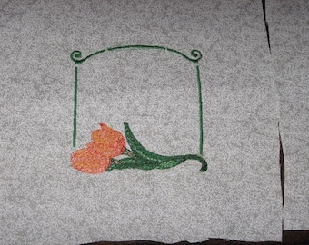 Peach Tulips Quilt Label, Machine Embroiderd, Free Shipping in US only