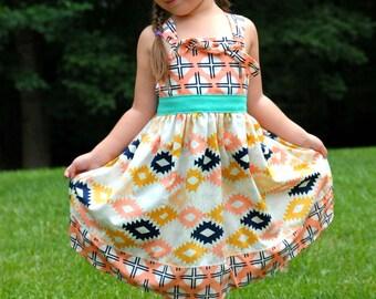 Girls Knot Dress Mint Coral Navy Cactus Flower Southwest Toddler Infant Girls
