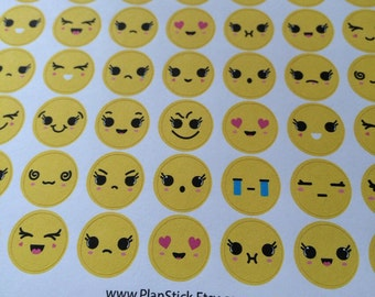 Emoji Planner Stickers - Mood stickers for Erin Condren Planner, Happy Planner, Filofax, Kikkik, Mambi and Others ! 54pc