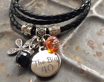 40th birthday gift, The big 40 leather wrap bracelet charm bracelet stainless steel message pendant rhinestone flower birthstone bracelet
