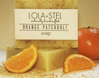 Orange Patchouli All Natural Soap, Vegan Soap, Handmade Soap, Cold Process Soap, Exfoliating Soap, Orange Soap, Patchouli Soap, Soap for him
