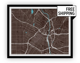 Los Angeles Map Print - Any Color You Like