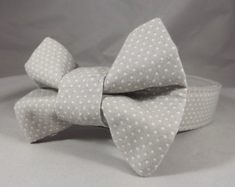 Gray Cat Collar, Breakaway Cat Collar, Gray Polka Dot Cat Collar, Boy Cat Collar, Kitten Collar, Bell and collar bow tie included