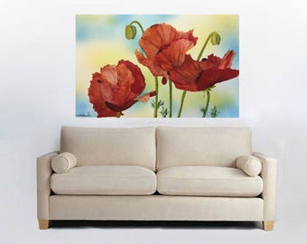 Contemporary Art Botanical Wall Art Red Poppy Watercolor Poppies  Poppy Poppy Print Floral Painting Poppy Poster  Office Decor Bedroom Decor
