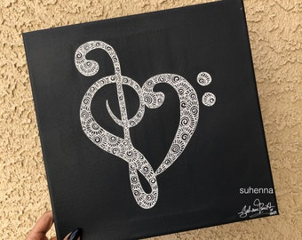 henna treble and bass clef heart canvas