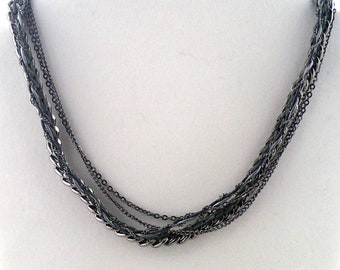 """Shades of Grey Necklace - 18"""" handwoven thread, leather & multi chain necklace. handmade to order in NYC."""