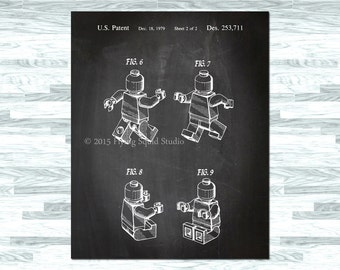 Lego Figure Patent Print Poster, Lego Art, Lego Deocor, Lego Print, Lego Wall Decor, Home and Office Lego Art, Kids Room Art