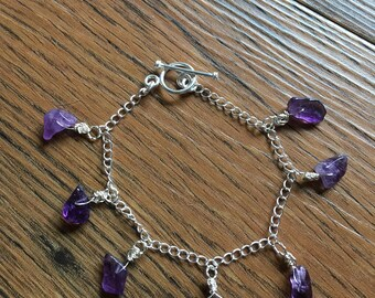 Amethyst Charm Bracelet - New, Handmade