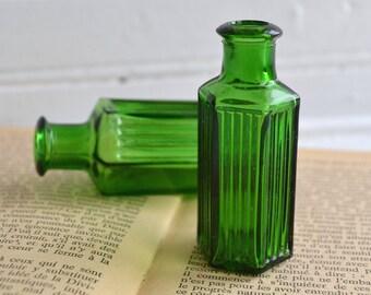Early Vintage 1900's English Green Glass Poison Bottles   Rare Green Medicine Bottles   Two Bottles   Hard to Find Green Bottles
