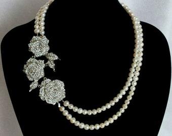 Gabor - Vintage Style Rhinestone and Freshwater Necklace