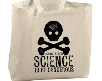 Danger Tote Bag Canvas Tote Bag Reusable Grocery Bag Tote Teacher Bags College Student Gift Dangerous Science Bag Skull and Crossbones Bag