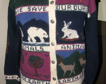 Vintage Woolrich cardigan - wool - size M - Animal lovers cardigan