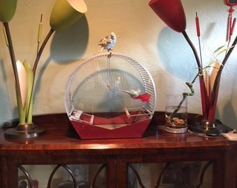 Rare vintage bird cage Signed  arnauld    Art Deco Form 1952 Mid Century deco