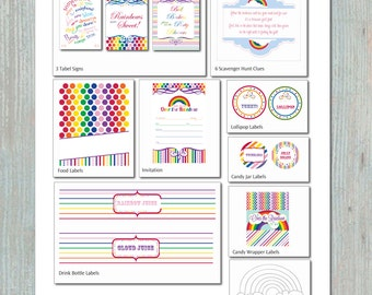 Rainbow Birthday Party Printables Set - INCLUDES CUSTOMIZED INVITATION - Printable Labels, Games, Decorations
