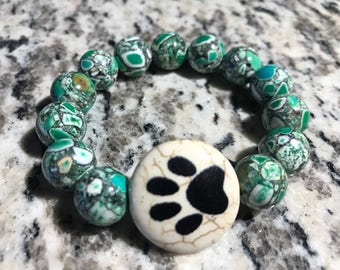 Paw Print Green Beaded Bracelet
