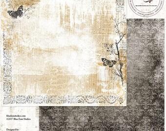 ON SALE Blue Fern Studios Remnants, Beaumont 12x12 Scrapbook Paper, 2 pcs