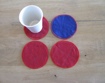 blue and red fabric coasters - reversible textile coasters - upcycled - set of 4x - gift for him - fabric coasters