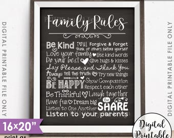 """Family Rules Sign, Follow the Rules of the Family Sign, House Rules, Family Values, 8x10/16x20"""" Chalkboard Style Printable Instant Download"""