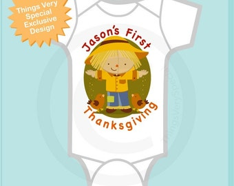 1st Thanksgiving Onesie outfit, Personalized outfit,  First Thanksgiving t-Shirt or Onesie, Scarecrow Shirt