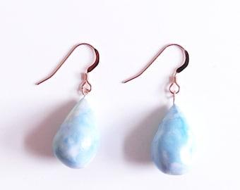 Blue Ceramic Earrings, Drop Earrings, Dangle Earrings, Rose Gold Earrings, Clay Earrings, Gift for Women, Handmade Earrings, Ceramic Jewelry