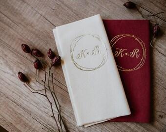 Personalized napkins, DINNER, Personalisierte Servietten,  Stoff Servietten, Hochzeit, Personalized Napkins, Weding napkins