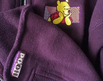 Vintage Winnie the Pooh embroidered zip up sweatshirt
