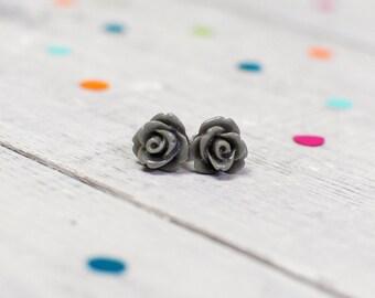Grey Rose Earrings | Nickel Free Studs | For Sensitive Ears | Floral Jewellery | Flower Earrings