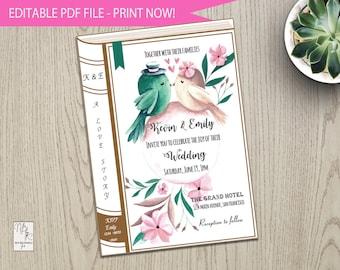 Book wedding invite Etsy